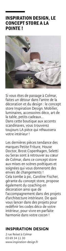 Article de presse magazine JDS Octobre 2019 concernant la boutique Inspiration Design à Colmar